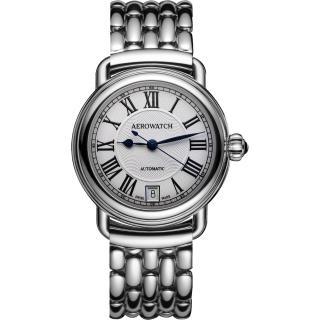 【AEROWATCH】經典扭索時尚機械腕錶-銀/35mm(A60922AA01M)