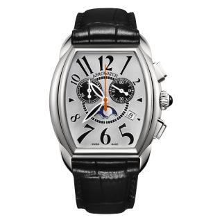 【AEROWATCH】藝術酒桶型計時腕錶-銀x黑/40mm(A84957AA03)