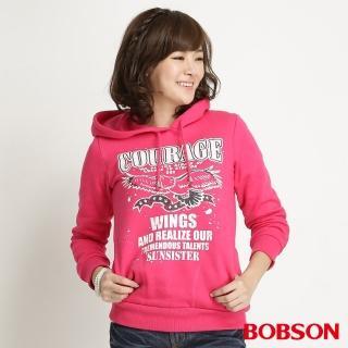 【BOBSON】女款內刷毛印圖帽T(桃紅31132-15)