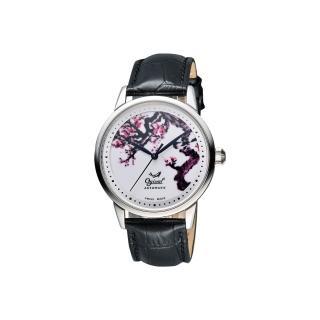 【Ogival】愛其華 花繪經典彩繪機械腕錶-梅花版/40mm(1929-24.1AGS皮)