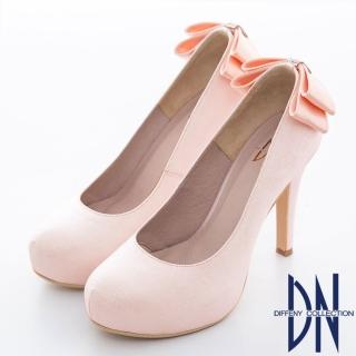 【DN】耀眼迷人 華麗金蔥蝴蝶結鑲鑽新娘晚宴鞋(粉)