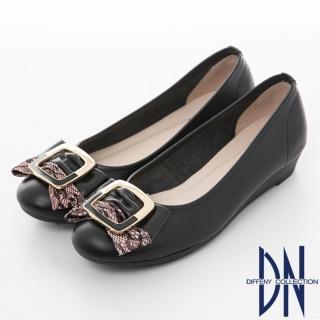 【DN】典雅樂感 全真皮氣質蕾絲方扣舒適鞋(黑)