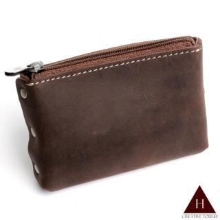 【H-CT】鉚釘個性拉鍊式真皮零錢包(PUM01-Z)