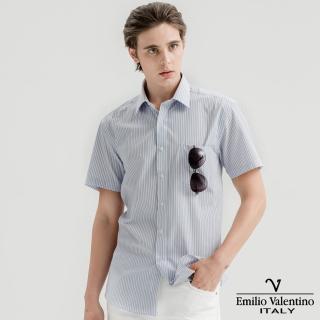 【Emilio Valentino 范倫提諾】英倫簡約短袖襯衫(紅藍條紋)