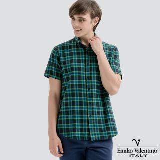 【Emilio Valentino 范倫提諾】水洗格紋襯衫(深綠)