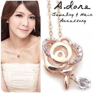 【A.dore】克萊絲特玫瑰花園˙水晶鑽石項鍊(薔薇金˙晶白鑽)