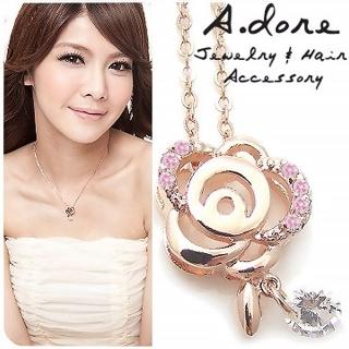 【A.dore】克萊絲特玫瑰花園˙水晶鑽石項鍊(薔薇金˙粉晶鑽)