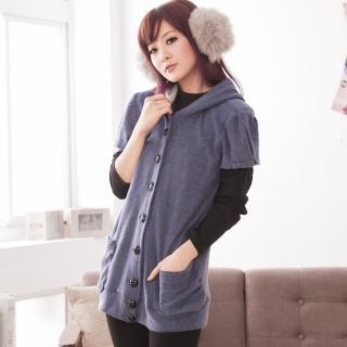 【衣心衣意中大尺碼】保暖懶懶風-雙面刷造型釦口袋連帽外套(藍-可可FK5A5023)