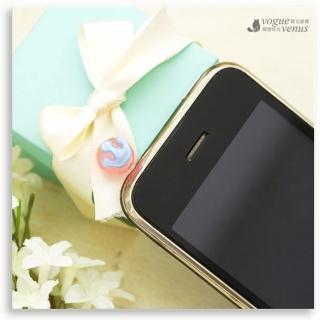 【維克維娜】糖果甜心。藍色皇冠粉紅圓珠耳機塞手機吊飾