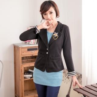 【衣心衣意中大尺碼】流行最前線  條紋袖口星星酷炫西裝外套(藍-黑A3180)