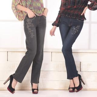 【RH】立體繡花手工縫珠氣質丹寧長褲超值兩件組(深灰+深藍)