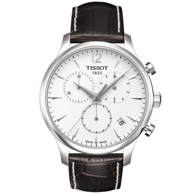 【TISSOT】TRADITION 系列三眼計時腕錶(白-42mm-T0636171603700)
