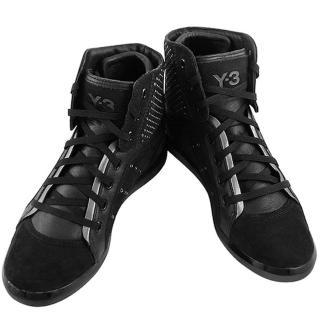【Y-3山本耀司】三線造型中筒造型靴-黑色(女款US 8.5號)
