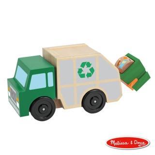 【美國瑪莉莎 Melissa & Doug】原木交通工具 - 垃圾車
