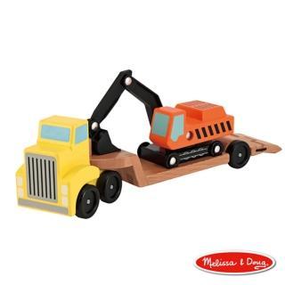 【美國瑪莉莎 Melissa & Doug】原木交通工具 - 挖土機拖車