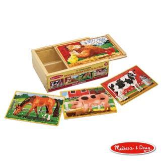 【美國瑪莉莎 Melissa & Doug】盒中木製拼圖 - 農場動物