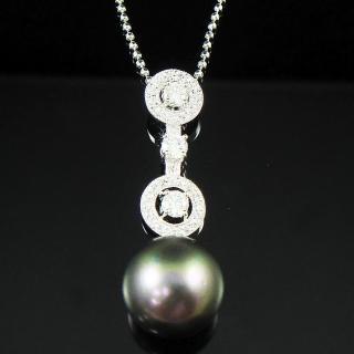 【蕾帝兒珠寶】天真黑色貝殼珍珠墜