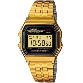 【CASIO 卡西歐】金色年華復古方型休閒錶(黑x金-33mm)