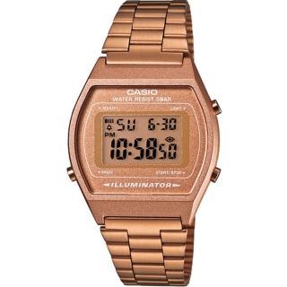 【CASIO 卡西歐】復古百搭時尚電子錶(玫瑰金/35mm)