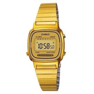 【CASIO 卡西歐】復古優雅質感時尚電子錶(金/24.6mm)