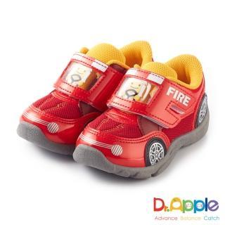 【Dr. Apple 機能童鞋】可愛俏皮人物開車碰碰運動童鞋(紅)