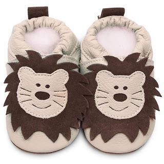 【英國 shooshoos】安全無毒真皮手工學步鞋/嬰兒鞋_米色獅子_ABG55(適合爬行、搖晃學習走路寶寶穿)