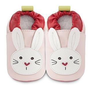 【英國 shooshoos】安全無毒真皮手工鞋/學步鞋/嬰兒鞋_淡粉/白色小兔(適合爬行、搖晃學習走路寶寶穿)