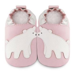 【英國 shooshoos】安全無毒真皮手工鞋/學步鞋/嬰兒鞋_淡粉/北極熊(適合爬行、搖晃學習走路寶寶穿)