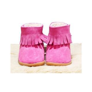 【英國 shooshoos】健康無毒真皮手工學步鞋-童鞋_熱情粉流蘇靴(筒長9cm-適合走路平順、跑跳小童)