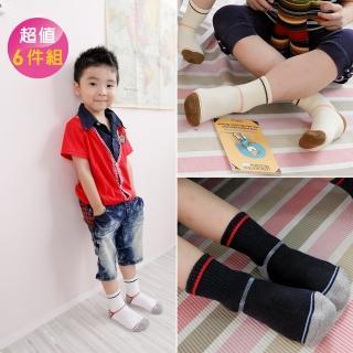 【Footer除臭襪】兒童簡約運動氣墊除臭襪6雙入 童款(F81M四色任選)