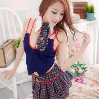 【Sexy Meteor】PW1038迷人格紋學生服百褶裙二件式角色扮演睡衣組(清純藍)
