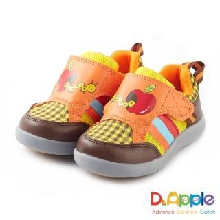 【Dr. Apple 機能童鞋】蘋果咬一口經典格紋童鞋(橘)