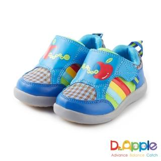 【Dr. Apple 機能童鞋】蘋果咬一口經典格紋童鞋(藍)