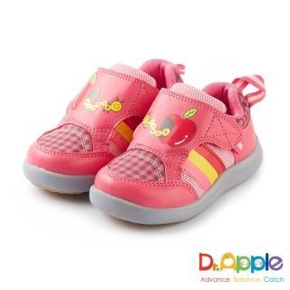【Dr. Apple 機能童鞋】蘋果咬一口經典格紋童鞋(粉桃)