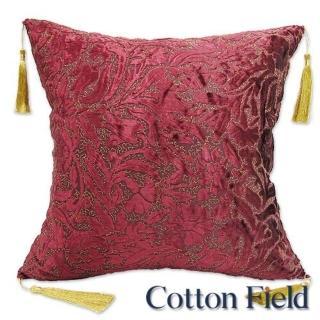 【棉花田】艾菲刺繡植絨抱枕-紅(65x65cm)