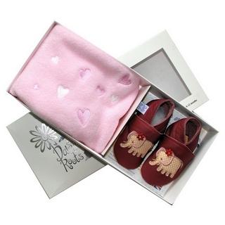【英國Daisy Roots】英國百年手做全皮革童鞋/彌月禮盒(小象方巾組)