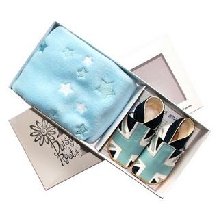 【英國Daisy Roots】英國百年手做全皮革童鞋/彌月禮盒(粉藍國旗方巾組)
