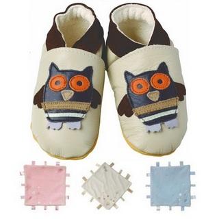 【英國Daisy Roots】英國百年手做全皮革童鞋/彌月禮盒(貓頭鷹方巾組)