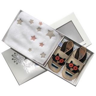 【英國Daisy Roots】英國百年手做全皮革童鞋/彌月禮盒(貓頭鷹S號方巾組)