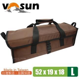 【VOSUN】台灣製 耐磨硬式底板萬用工具袋.萬用收納袋(L號 咖啡)