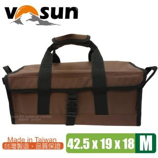 【VOSUN】台灣製 耐磨硬式底板萬用工具袋.萬用收納袋(M號 咖啡)