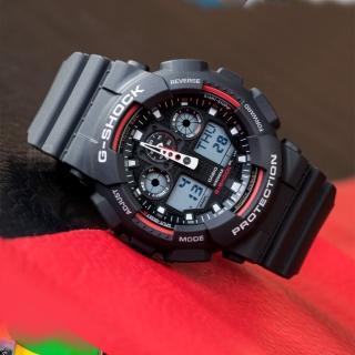 【CASIO 卡西歐】G-SHOCK 數位指針雙顯運動錶(GA-100-1A4DR)