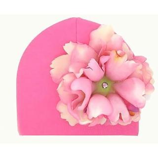 【美國Jamie Rae】女童/女寶寶100%純棉帽/髮帶_糖果粉棉帽+甜蜜糖果粉大牡丹(JRCHP01)