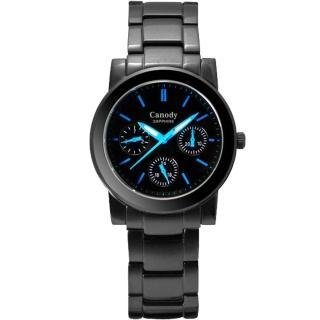 【Canody】極美時尚三眼日曆腕錶(IP黑+藍-34mm-GB2585-1C)