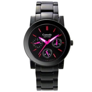 【Canody】極美時尚三眼日曆腕錶(IP黑+桃紅-40mm-GM2585-1E)