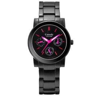 【Canody】極美時尚三眼日曆腕錶(IP黑+桃紅-34mm-GB2585-1E)