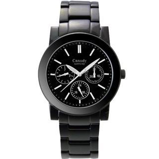 【Canody】極美時尚三眼日曆腕錶(IP黑+白-40mm-GM2585-A)