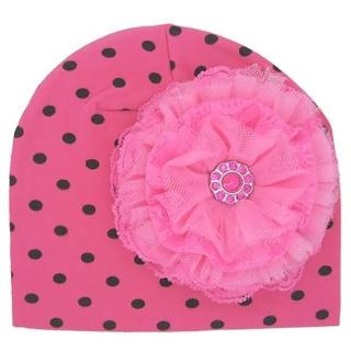 【美國Jamie Rae】女寶寶/女童100%純棉帽_糖果粉黑點印花帽+糖果粉蕾絲玫瑰(JRCHL08)