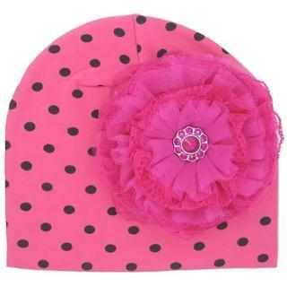 【美國Jamie Rae】女寶寶/女童100%純棉帽_糖果粉黑點印花帽+覆盆子蕾絲玫瑰(JRCHL09)