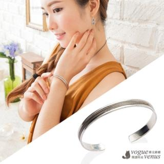 【維克維娜】精緻百搭 麻繩刻紋純銀手環